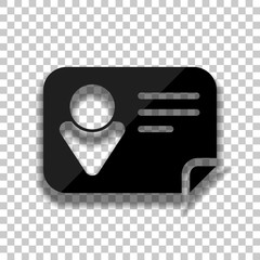 Identification card icon. Black glass icon with soft shadow on t