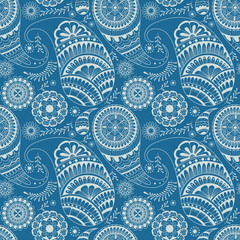 Blue and white seamless pattern with floral element henna style. Textile, background, wrapper, packing.