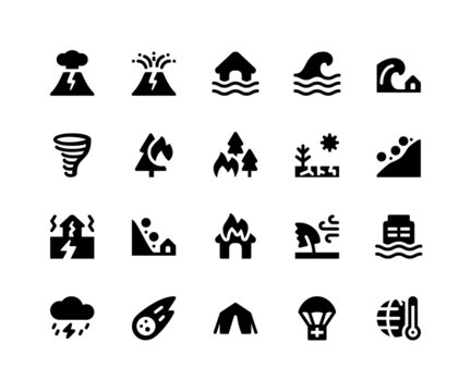 Simple Set of Disaster Related Vector Glyph Icons. Contains such Icons asvolcano, eruption, flood, wave, tsunami and More. pixel perfect vector icons based on 32px grid.