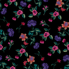 Embroidery seamless floral pattern with roses and peonies. Vector embroidered ethnic patch with flowers for print and fabric design.