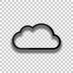 Simple cloud. Linear symbol with thin outline. Black glass icon