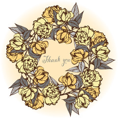 camellia ,beautiful vintage card,ink,handmade,flowers, buds, leaves,wreath of flowers,yellow and gray