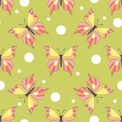 Seamless pattern with cartoon butterfly