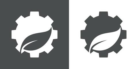 Icono plano engranaje con hoja en espacio negativo en gris y blanco