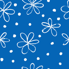 Fototapete - Seamless background with hand drawn flowers