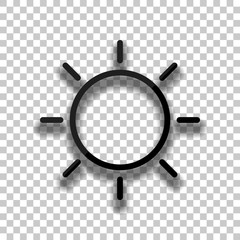 Sun icon. Linear, thin outline. Black glass icon with soft shado