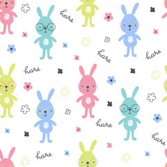 Fototapete - Seamless pattern with hand drawn hares