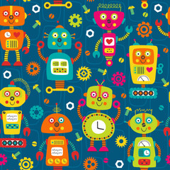 seamless pattern with colorful robots on blue background  -  vector illustration, eps