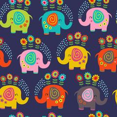 modèle sans couture avec des éléphants floraux - illustration vectorielle, eps