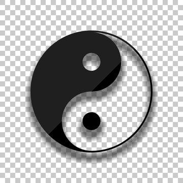 yin yan symbol. Black glass icon with soft shadow on transparent