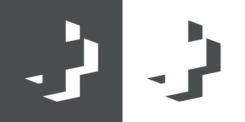 Icono plano cruz 3D espacio negativo en gris y blanco