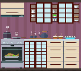 Kitchen in the Japanese style with cupboards, shelves and cooking utensils. Vector illustration.