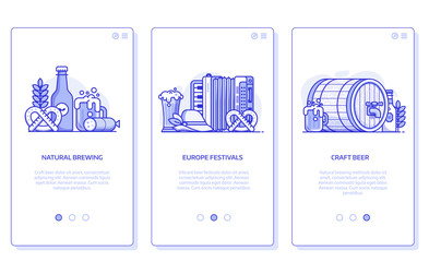 Beer festival, natural brewing and craft beer user interfaces for mobile applications. Brewery UI concept illustrations with popular oktoberfest symbols in line art.
