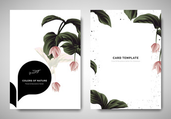 Greenery greeting/invitation card template design, pink Medinilla magnifica flowers with white black bubble frame on white background