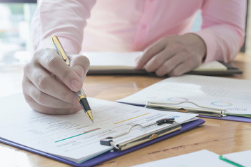 Administrator business man financial inspector and secretary making report, calculating or checking balance. - Business Concept