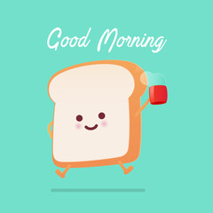 Good morning greeting on toasted bread cartoon against green background. Vector flat cartoon illustration