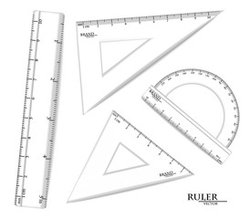 Transparent Rulers set Vector realistic. Drawing set isolated on white. Metric measures imperials