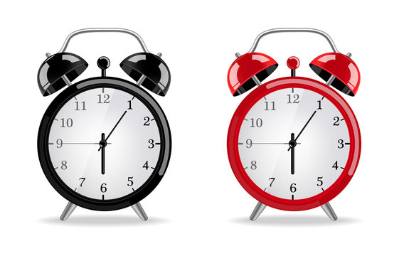 Alarm clock Vector realistic. Red and black clocks isolated on whites