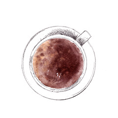 Hand drawn cup of americano coffee, top view. Pencil sketch with watercolor stain.