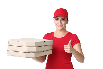 Delivery woman with pizza in cardboard boxes on white background