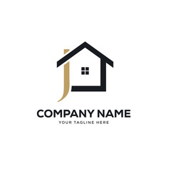 real estate logo design vector, initial letter logo j design template