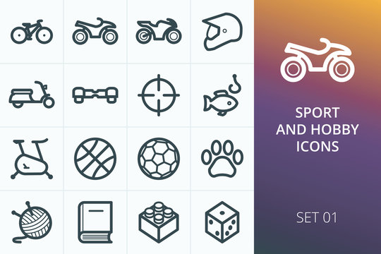 Sport and hobbies icons set. Set of bike, sports equipment, ATV, fishing, hunting, needlework, gyroscooter, games icons