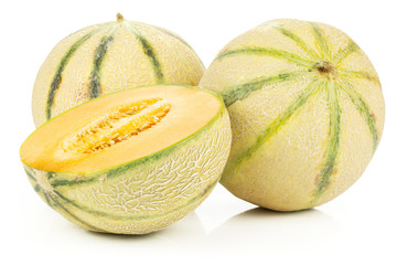 Group of two whole one half of fresh melon cantaloupe variety isolated on white background