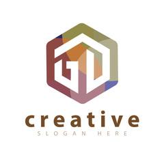 GD Initial letter hexagonal logo vector template