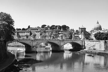 Fototapeta Rome Panorama Italy in black and white obraz