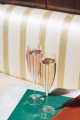 Flutes with Prosecco sparkling wine in an elegant restaurant in Valdobbiadene