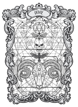 Devil. Major Arcana tarot card. The Magic Gate deck. Fantasy engraved vector illustration with occult mysterious symbols and esoteric concept