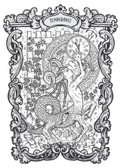 Temperance. Major Arcana tarot card. The Magic Gate deck. Fantasy engraved vector illustration with occult mysterious symbols and esoteric concept
