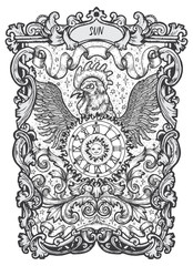 Sun. Major Arcana tarot card. The Magic Gate deck. Fantasy engraved vector illustration with occult mysterious symbols and esoteric concept