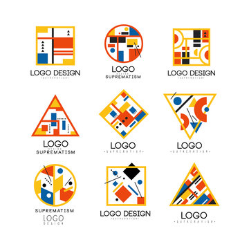 Suprematism logo design set, abstract creative geometric templates can be used for brand identity, advertising, poster, banner, flyer, web, app vector Illustrations on a white background
