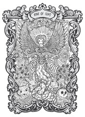 King of cups. Minor Arcana tarot card. The Magic Gate deck. Fantasy engraved vector illustration with occult mysterious symbols and esoteric concept
