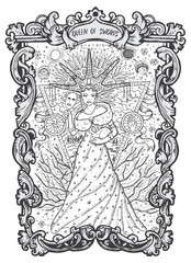 Queen of swords. Minor Arcana tarot card. The Magic Gate deck. Fantasy engraved vector illustration with occult mysterious symbols and esoteric concept