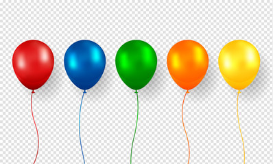 Balloon vector. Realistic Flying Birthday helium balloon. Isolated on transparent background. Party and celebrations decorations.