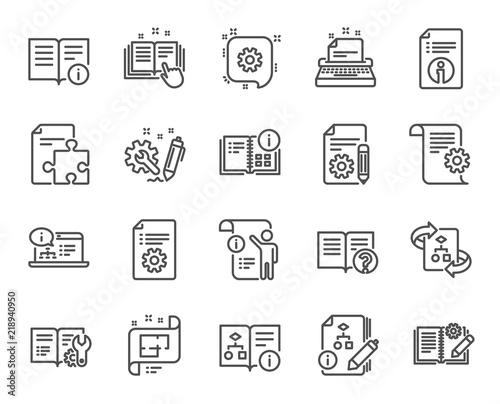 Technical documentation line icons set of instruction plan and technical documentation line icons set of instruction plan and manual linear icons help malvernweather Gallery
