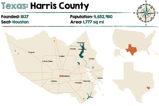 Detailed map of Harris county in Texas, USA.
