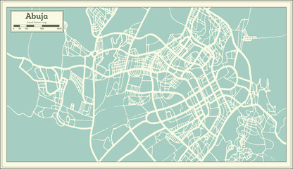Abuja Nigeria City Map in Retro Style. Outline Map.