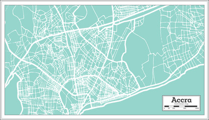 Accra Ghana City Map in Retro Style. Outline Map.