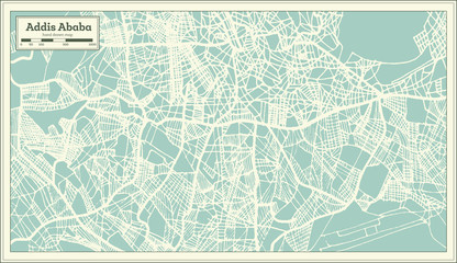 Addis Ababa Ethiopia City Map in Retro Style. Outline Map.