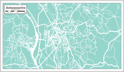 Antananarivo Madagascar City Map in Retro Style. Outline Map.