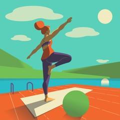 girl doing yoga on lake side illustration