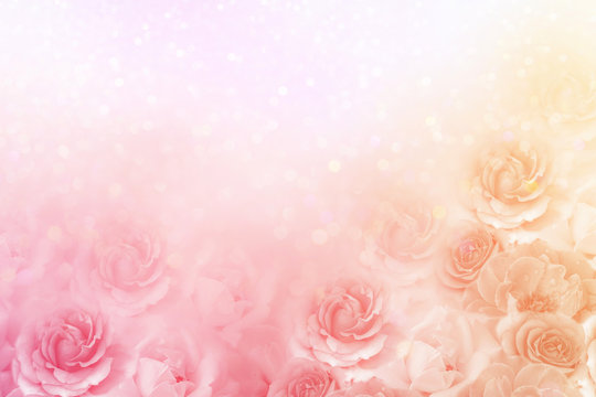 beautiful roses flower border in soft vintage tone color with glitter romance background for valentine or wedding card