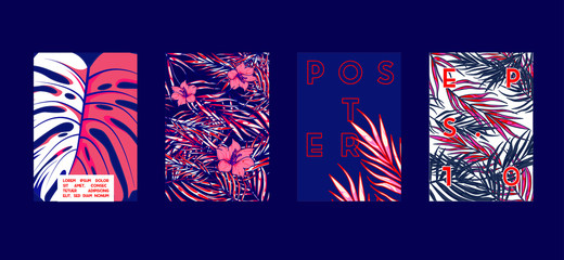 Poster with tropical flat geometric pattern. Cool colorful backgrounds. Applicable for Banners, Placards, Posters, Flyers. Vector illustration.