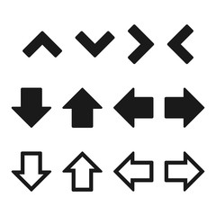Simple, flat set of arrows. Black arrows. Three variations. Isolated on white
