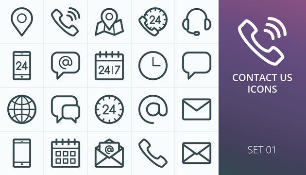 Contact us icons set. Set of business contact phone call, map maker, open email envelope, calendar, call us, call center, support, gps map location vector line icons