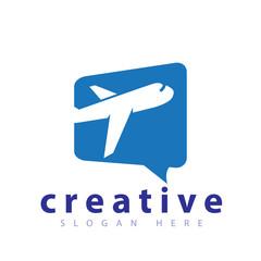 Plane with Square Talk Logo icon vector