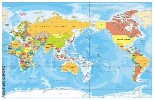 Pacific Centered World Colored Map Stock Image And Royalty Free